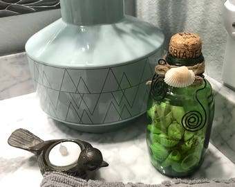 Green Glass Bottle Filled with Sea Shells, Re-Purposed Decorated Beer Bottle with Seashells Accented with Twisted Wire, Item #506212775