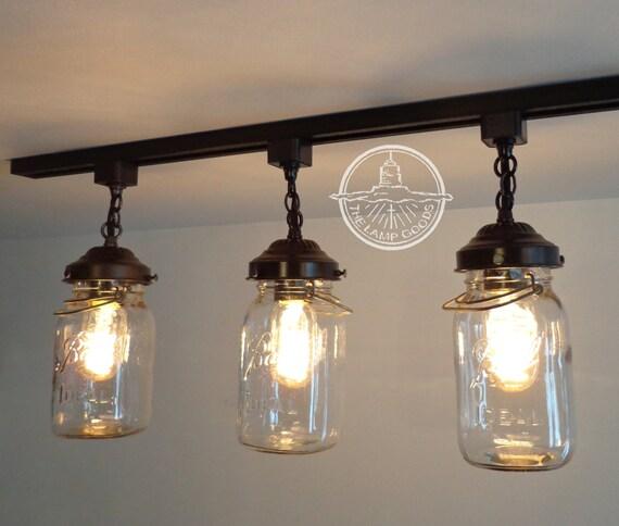 Mason jar track lighting with vintage quarts aloadofball Choice Image