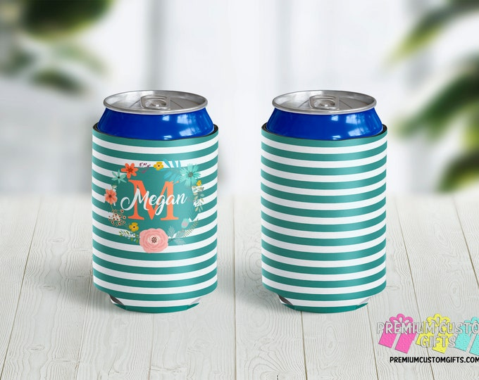Personalized Can Coolers With Floral Frame - Vacation Coolies - Bridesmaid Gifts - Monogrammed Can Coolers - Wedding Favors - Custom Coolies