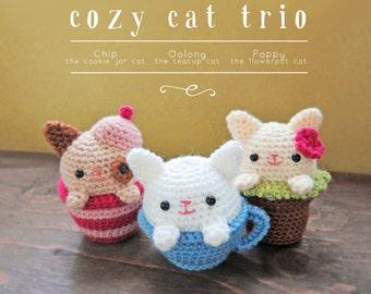 Cozy Cat Trio PDF Crochet Amigurumi Pattern