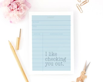 Funny Valentine Card - Checking You Out - Book Lover, Library Card, Anniversary, Girlfriend Card, Book Nerd, Book Gift, Valentine's gift