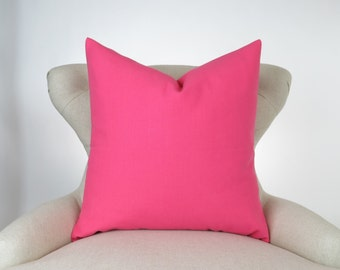 Throw Pillow Cover, Decorative Cushion, Euro Sham, Accent Pillow, Plain Pillow, Solid Color -MANY SIZES- Candy Pink Hot Pink, Premier Prints