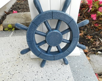 12 inch wooden dark blue ships wheel / beach decor / nautical decor