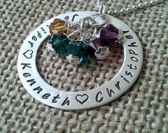 Birthstone Mom Washer Necklace, Personalized Grandma Necklace, 925 Family Necklace, Kids Names Necklace, Grandkids Name Necklace