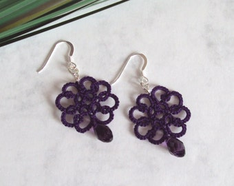 Dark Purple Lace Earrings in Tatting - Christina