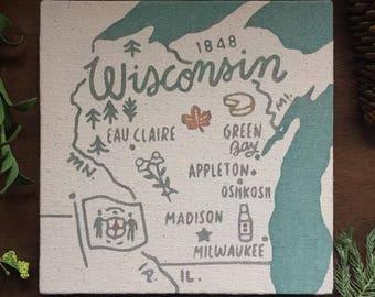 Wisconsin Souvenir Map 8 x 8 Canvas Screen Printed Home Decor Wall Art