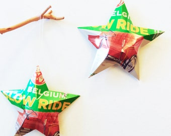 New Belgium Slow Ride Beer Stars, Christmas Ornaments, Aluminum Can Upcycled, Gift for Dad, Man Cave, Barware