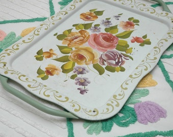 Vintage Tole Tray Handpainted White Green Handles Pink Yellow Roses