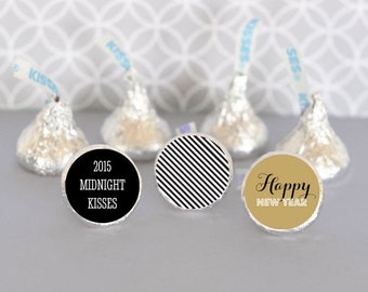 Chocolate Kisses-Hershey® Kiss Labels - Personalized Hershey's® Kisses New Years Eve Favors - Candy Kiss Labels - 108 custom stickers trio