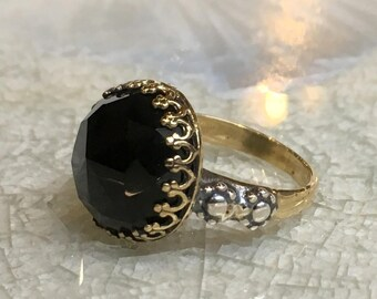 Onyx ring, gemstone ring, Crown ring, Golden brass Sterling silver ring, Silver gold ring, Boho jewelry, black ring - Dark shadow RK2561