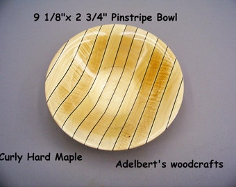 "9""  Wooden Pinstripe Bowl.  Shipped by priority mail 2 to 3 days delivery."