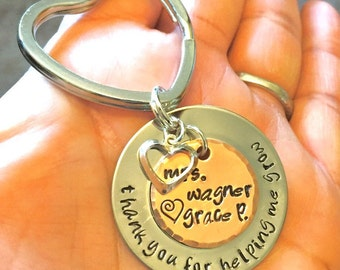 teacher gift, teacher appreciation, thank you for helping me grow, teacher key chain, teacher thank you gift, gifts from kids