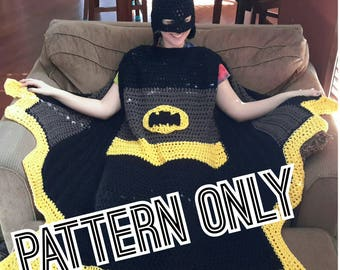 Wearable Super Hero Blanket, crochet pattern, Bat, Black, Yellow, Cape, PDF Only, Digital Download, Toddler, Child, Adult sizes