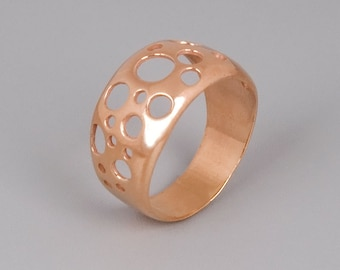 Rose Gold Ring, Circle Ring, Holes Ring, Delicate Ring, Minimal RIng, Modern Ring, Geometric Ring, Sterling Silver RIng, Pink Gold Ring