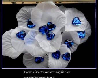 50 heart shaped rhinestone deco wedding Sapphire 16 MM X 16 MM.