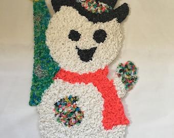 Snowman Popcorn Melted Plastic Wall Decor