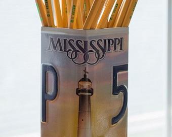 Mississippi License Plate Pencil Holder - Unique Pencil Cup - Desk Accessories - Office Decor - Desk Organizer - Pen Holder - Pen Cup - Gift