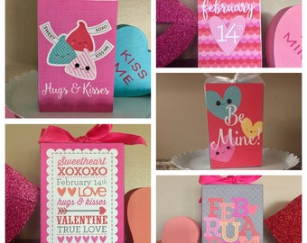 Cute Valentine's Day 4x6 wood blocks - Be Mine, Hugs and Kisses, February 14th, Sweetheart, XOXOXO, Love, Valentine, True Love, You and Me