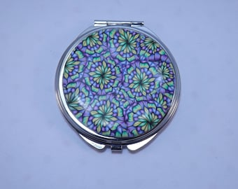 Polymer Clay Embellished Compact Purse Mirror, Blue Green Purple Kaleidoscope