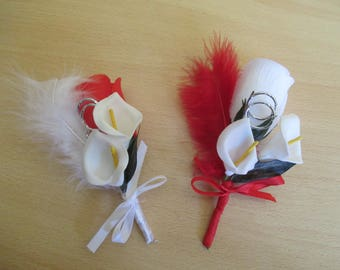 Brooch-wedding - white and Red boutonniere