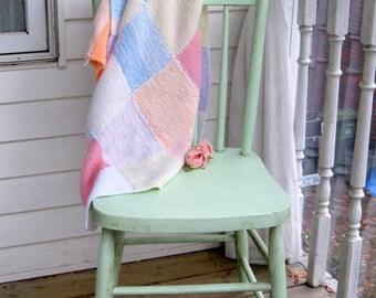Vintage Patchwork Knitted Blanket, Pastel, Primitive Decor, Throw, Afghan, Nursery, Lap Blanket, by mailordervintage on etsy
