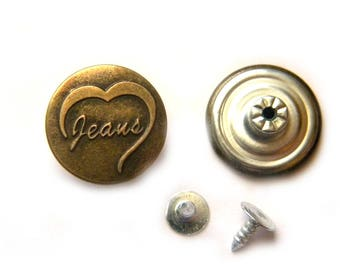 5 Hammer On Jeans Buttons with 5 Tacks