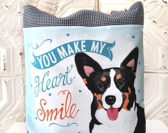 Corgi Art Tote Bag- You Make My Heart Smile