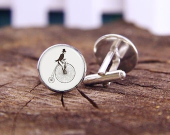 Vintage Bicycle Cufflinks, Personalized Cuff Links, Bike Cufflink & Tie Clip, Artwork Cuff Links, Bike Bicycle Cuff Links, Groom Gifts