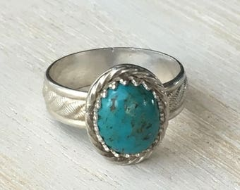 Turquoise Sterling Silver Ring Size 7.75
