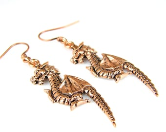 SALE - Copper Dragon Earrings, Antiqued Copper Dragon Earrings, Copper Earrings, Dragon Earrings