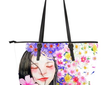 Girl / large leather tote bag