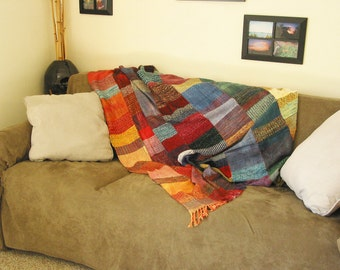 "OOAK Hand-Woven, Hand-Dyed ""Patch"" Blanket   (-(- FREE SHIPPING -)-)"