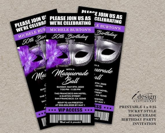 Masquerade Ball 50th Birthday Party Ticket Invitation