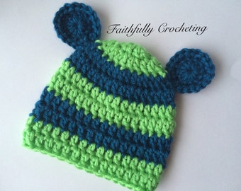 Newborn bear hat... Blue and lime green... Photography prop... Ready to ship