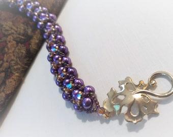 Czech Pearl and Swarovski Crystal Woven Bracelet - Purple