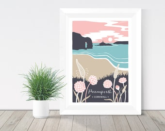 Perranporth beach print, Cornwall illustration, nature print, sea thrift and ribwort giclee print