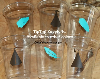 24 Tee-pee & feather boho 10, 12, or 16 oz. clear cups. Pow-wow, camping, Tribal party, feathers, Indian, party decor, birthday party. C-247