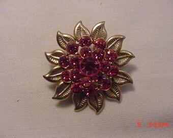 Vintage Pink Rhinestone Brooch  18 - 590