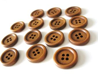 Bouton de bois à 4 trous en bois naturel brun de 15mm - ensemble de 15