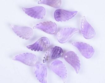 18mm Carved amethyst angel wing earrings loose bead (both sides carved)