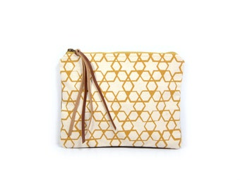 cosmetic pouch • geometric make up bag - canvas zipper pouch • geometric print - waxed canvas - geometric print • large clutch - make up bag