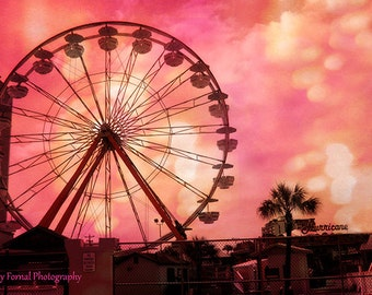 Hot Pink Ferris Wheel Print, Surreal Hot Pink Carnival Art, Baby Nursery Kid's Room Wall Art, Hot Pink Orange Ferris Wheel Wall Art Prints