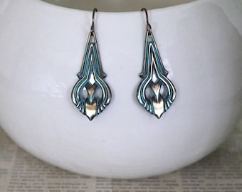 Patina Jewelry, Vintaj Jewelry, Art Nouveau Jewelry, Vintage Jewelry, Turquoise Patina, Boho Jewelry, Teardrop Earrings, Brass Earrings