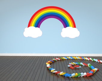 Rainbow and Clouds Decal Wall Sticker Nursery Baby Room Kids Bedroom