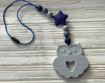 Stroller Teether, Stroller Toy, Baby Carrier Accessory, Baby Carrier Sensory Toy, Sensory, Owl Teether, Babywearing, Chewable Accessory