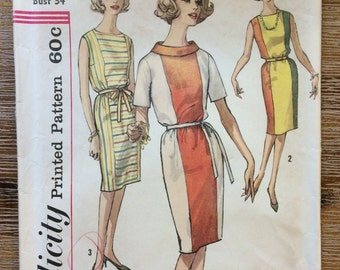 Vintage 1960's Dress Sewing Pattern Simplicity 4349