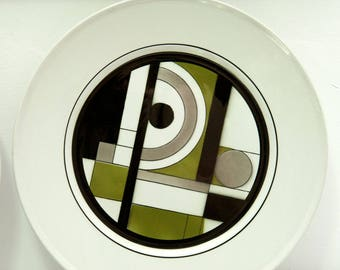 Vintage Rare, (4) Mikasa 'Epiqure One', ceramic, geometric dinner plates, 4510, Japan, Modern, Retro, discontinued