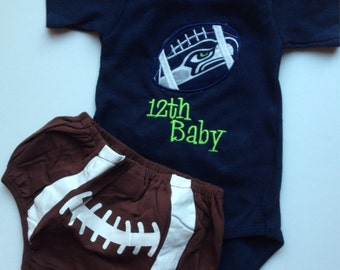 Seattle Seahawks Inspired  Baby Shirt and diaper cover