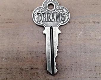 Dreams Skeleton Key Charm, key pendant, Silver skeleton key charm, engraved, USA Supplies