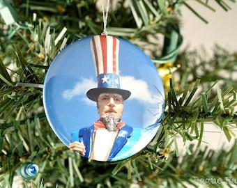 Uncle Sam Ornament - Glitter Ornament - America Ornament - USA - Red and White Glitter - Stocking Stuffer - Gift Under 15
